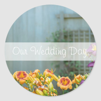Rustic Grey Yellow and Purple Flowers Our Wedding Round Sticker