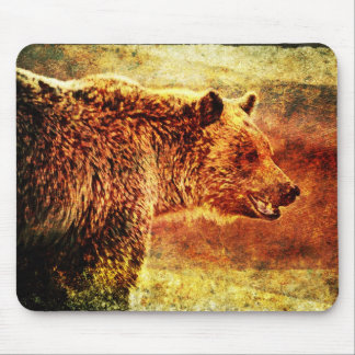 Rustic Grizzly Bear Art Mouse Pad