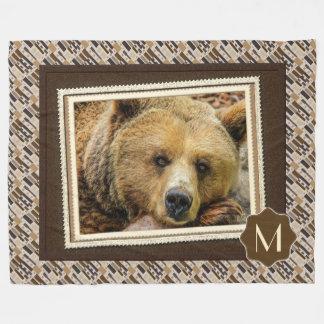 Rustic Grizzly Bear Photography Print Fleece Blanket