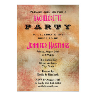 Rustic Grunge Abstract Bachelorette Party 13 Cm X 18 Cm Invitation Card