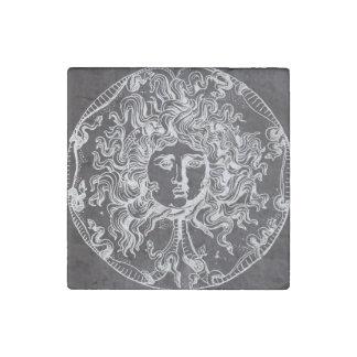 rustic grunge chalkboard art vintage medusa stone magnet