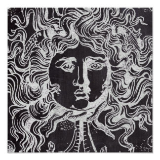rustic grunge chalkboard art vintage medusa poster