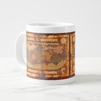 Rustic Grunge Old World Map Jumbo Soup Mug Jumbo Mug