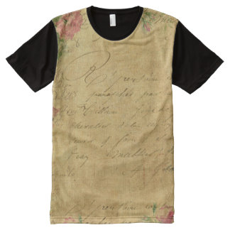 Rustic,grunge,paper,vintage,floral,text,roses,rose All-Over Print T-Shirt