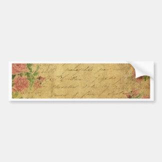 Rustic,grunge,paper,vintage,floral,text,roses,rose Bumper Sticker