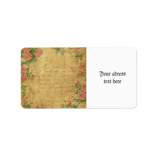 Rustic,grunge,paper,vintage,floral,text,roses,rose Label