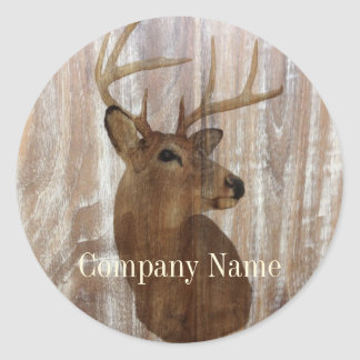 rustic grunge vintage wood grain hunter buck deer classic round sticker