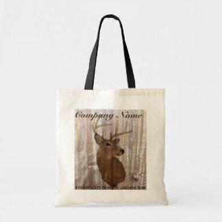 rustic grunge vintage wood grain hunter buck deer canvas bag