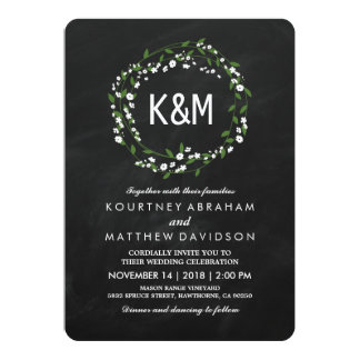 Rustic Gypsophila Chalkboard Wedding Card
