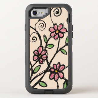 Rustic Hand Drawn Floral Pattern Girly OtterBox Defender iPhone 8/7 Case