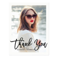 Rustic Hand Lettering Photo Graduation Thank You
