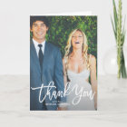 Rustic Hand Lettering Photo Wedding Thank You Card