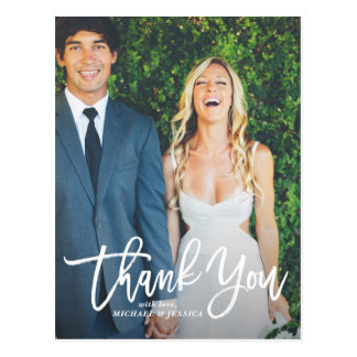 Custom wedding thank you postcards zazzle rustic hand lettering photo wedding thank you postcard junglespirit Image collections