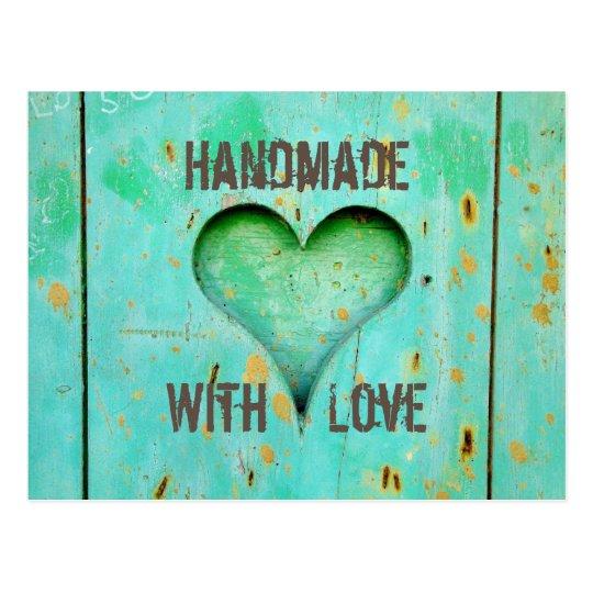 Rustic handmade with love postcard