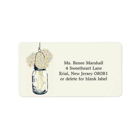 Rustic Hanging Mason Jar Hydrangeas Address Label