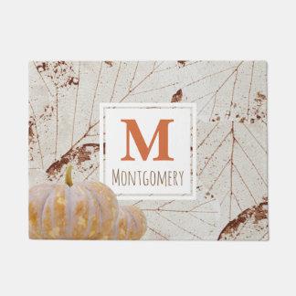 Rustic Harvest Fall Leaves & Pumpkins Family Name Doormat
