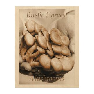 Rustic Harvest Mushrooms Photograph Wood Wall Decor