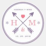 Rustic Heart Arrow Wedding Favour Monogram Sticker