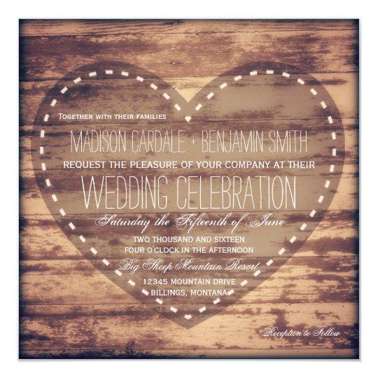 Rustic Heart Barn Wood Country Wedding Invitations