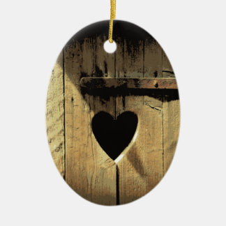 Rustic Heart Carved Wooden Door Rusty Lock Ceramic Oval Decoration