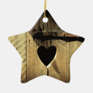 Rustic Heart Carved Wooden Door Rusty Lock Christmas Ornament
