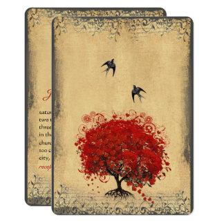 Rustic Heart Leaf Red Tree Love Bird Wedding 13 Cm X 18 Cm Invitation Card