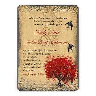 Rustic Heart Leaf Red Tree Love Bird Wedding Announcement