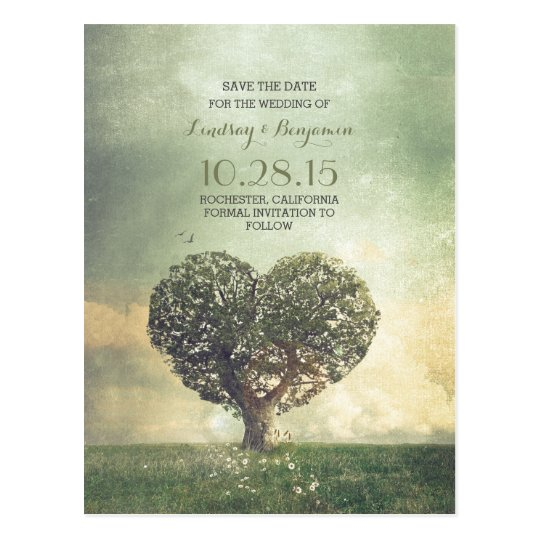 rustic heart tree vintage save the date postcard