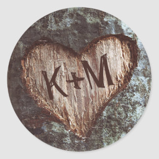 rustic heart tree wedding classic round sticker