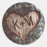 rustic heart tree wedding round sticker