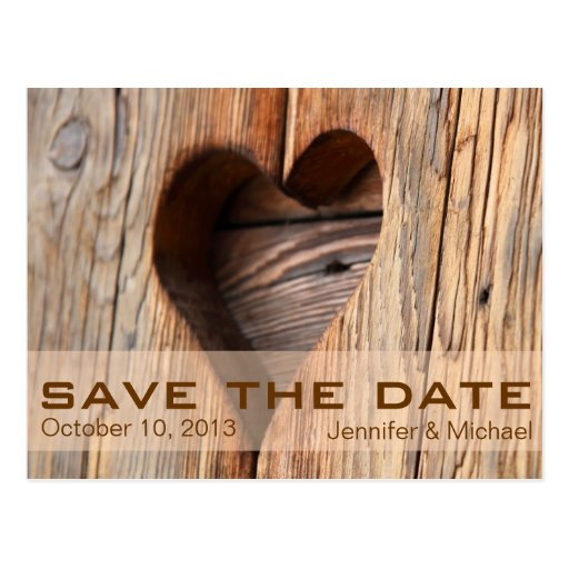 Rustic Heart Vintage Save the Date Post Cards