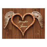 Rustic Heart with Wings Wood Wedding Invitations