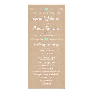 Rustic Hearts and Arrows   Wedding Program Rack Card