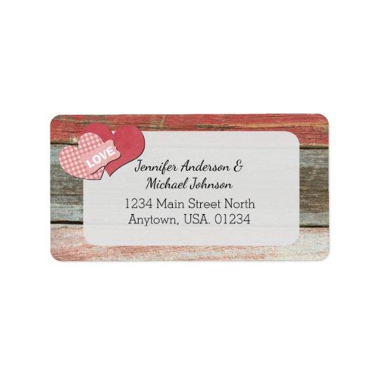 Rustic Hearts and Frame Barn Wedding Address Label
