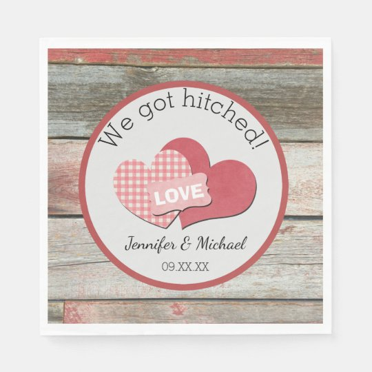 Rustic Hearts and Frame Barn Wedding Disposable Serviettes