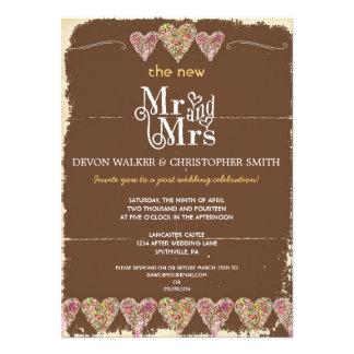 Rustic Hearts Chalkboard Post Wedding Invitation