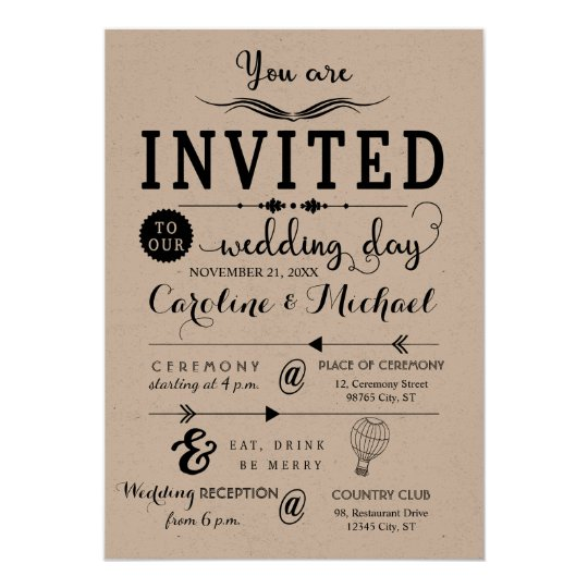 Rustic Hipster Wedding Invitation card