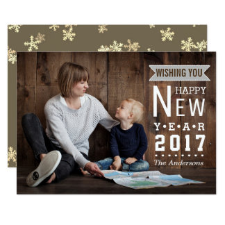 Rustic Holiday | Happy New Year 2017 Photo Card