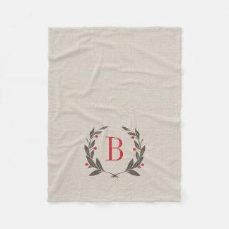 Rustic Holiday Laurel Wreath Monogram Fleece Blanket