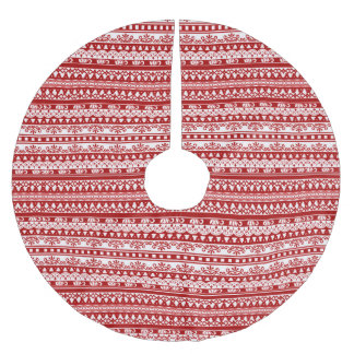 Rustic Holiday Pattern Christmas Tree Skirt in Red