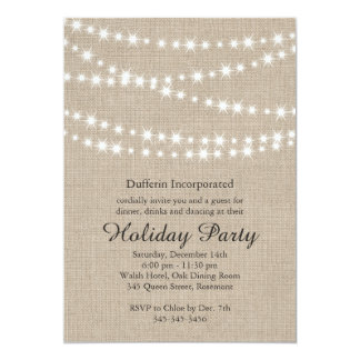Rustic Holiday Twinkle Lights Invitation (corp)