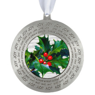Rustic Holly Berry Christmas Design Holiday Theme Round Pewter Decoration
