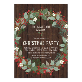 Rustic Holly Christmas Party 11 Cm X 16 Cm Invitation Card