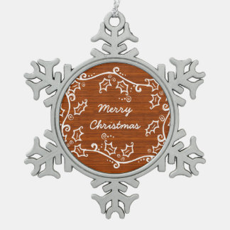 Rustic Holly Snowflake Ornament
