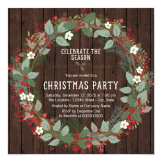Rustic Holly Wreath Christmas Party 13 Cm X 13 Cm Square Invitation Card