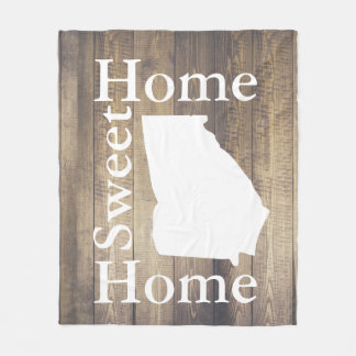 Rustic Home Sweet Home Georgia Barn Wood Fleece Blanket