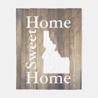 Rustic Home Sweet Home Idaho Barn Wood Fleece Blanket
