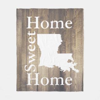Rustic Home Sweet Home Louisiana Wooden Planks Fleece Blanket