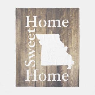 Rustic Home Sweet Home Missouri Barn Wood Fleece Blanket