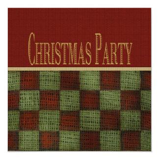 Rustic Homespun Christmas Party 13 Cm X 13 Cm Square Invitation Card